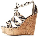Charlotte Russe Bamboo Printed Lace-Up Wedge Sandals