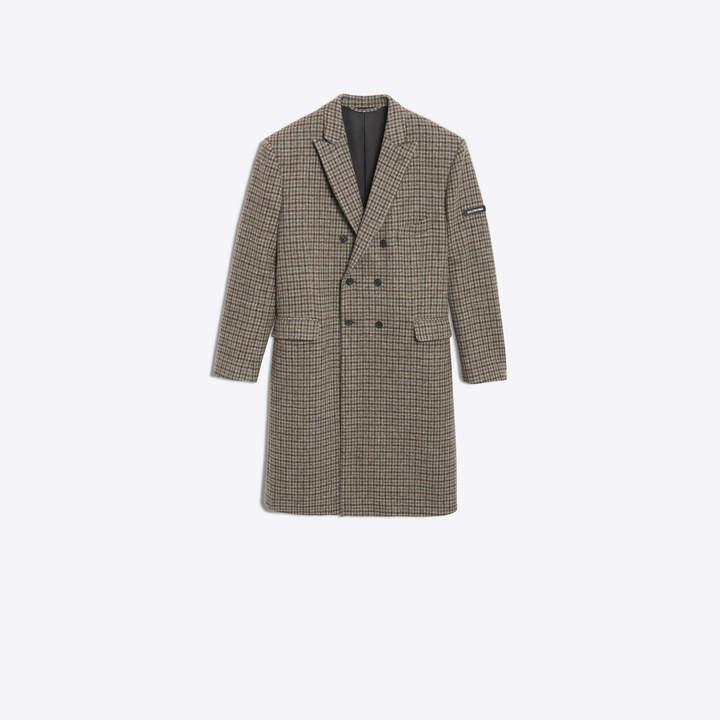 Balenciaga Fleece wool houndstooth double breasted coat