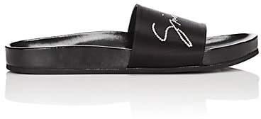 Givenchy Women's Crystal-Logo Satin Slide Sandals - Black