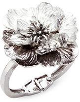Oscar de la Renta Hinged Silvertone Flower Bangle Bracelet