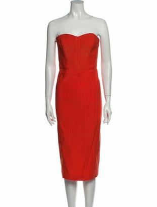 Veronica Beard Strapless Knee-Length Dress w/ Tags Orange