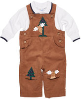 Florence Eiseman Moose-Embroidered Corduroy Overalls w/Shirt, 6-24 Months