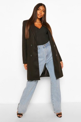 boohoo Tall Double Breasted Wool Look Coat