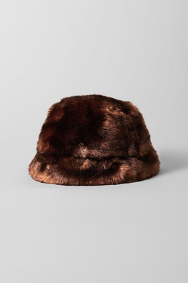 Weekday Furry Bucket Hat - Brown