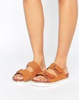 Vero Moda Leather Flatform Buckle Slide Sandals