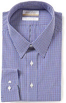 Roundtree & Yorke Gold Label Big & Tall Non-Iron Regular Full-Fit Point-Collar Grid Check Dress Shirt