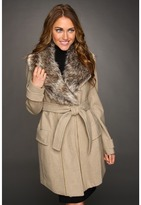 Vince Camuto Faux Fur Collar Coat (Oatmeal) - Apparel