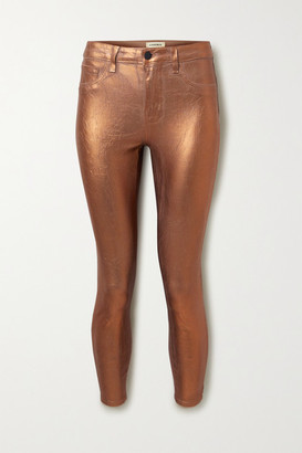 L'Agence Margot Cropped Metallic Coated High-rise Skinny Jeans - Bronze