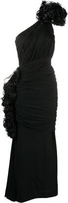 Valentino Pre Owned 1988 One-Shouldered Ruffle-Detail Dress