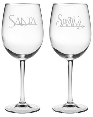 Susquehanna Glass Santa & Santas Lil' Helper Stemmed Wine Glasses (Pair of 2) 19 oz
