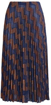 M Missoni Pleated Zigzag Midi Skirt