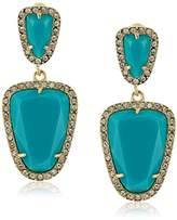 ABS by Allen Schwartz Going Coastal Turquoise Double Drop Pierced Earrings,Gold/Turquoise/Crystal