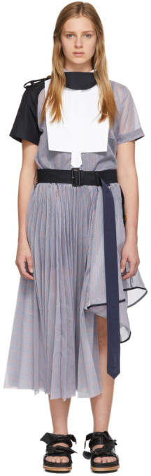 Sacai Blue Striped Organza Dress
