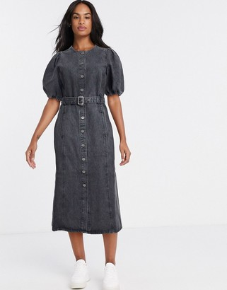Gestuz puff sleeve midi shirt dress in grey
