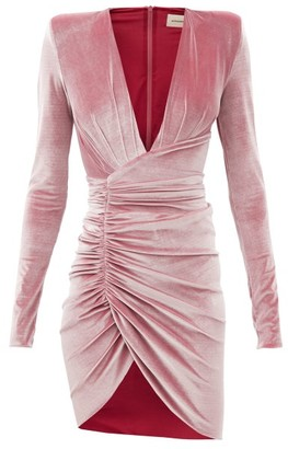 Alexandre Vauthier Plunge-neck Ruched Velvet Mini Dress - Pink