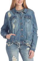 Dollhouse Shady Blue Distressed Oversize Denim Jacket - Plus