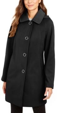 London Fog Single Breasted Hooded Water-Resistant Raincoat