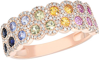 Diana M Fine Jewelry 14K Rose Gold 1.06 Ct. Tw. Diamond & Sapphire Ring