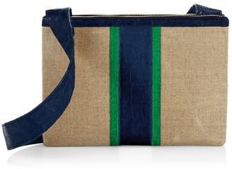 Nancy Gonzalez Tina Craig x Crocodile-Trimmed Linen Crossbody Bag