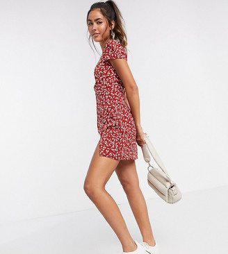 Fashion Union mini dress in tonal floral print with thigh split