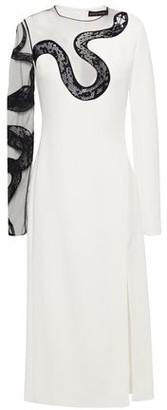 David Koma Lace-trimmed Tulle-paneled Cady Midi Dress