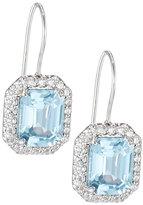 FANTASIA Emerald-Cut CZ Drop Earrings, Aqua