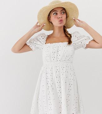 Asos DESIGN Petite prairie broderie mini dress