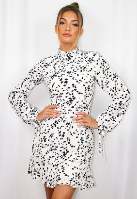 Missguided White Dalmatian High Neck A Line Dress