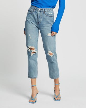 Only Fine High Rise Straight Leg Crop Denim Jeans