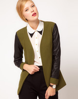 Asos Blazer With Leather Look Sleeves
