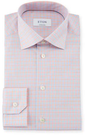 Eton Contemporary Fit Tattersall Cotton Dress Shirt