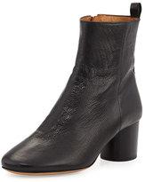 Isabel Marant Deyissa Tumbled Leather Block-Heel Boot, Black
