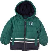 London Fog Green & Black Snowman Puffer Coat - Infant