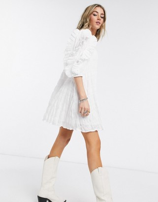 Object textured smock dress with oversized ruffle sleeve in white