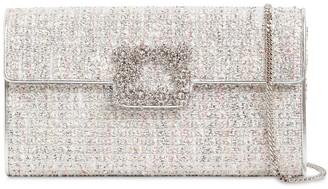 Roger Vivier Flower Buckle Tweed Envelope Clutch