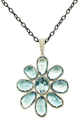 Arthur Marder Fine Jewelry Silver 2.00 Ct. Tw. Diamond & Blue Topaz Necklace