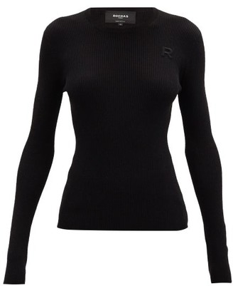 Rochas Round-neck Logo-applique Ribbed Wool Sweater - Black