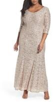 Alex Evenings Plus Size Women's Sequin Lace Fit & Flare Long Dress