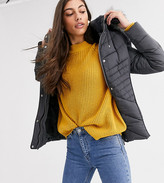 New Look Tall fitted puffer jacket in gray