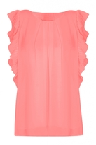 Quiz Coral Chiffon Pleated Sleeveless Top