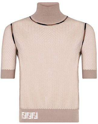 Fendi Micro-Mesh Mockneck Sweater