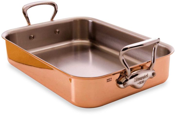 Mauviel M'heritage 15.7-Inch x 11.8-Inch Tri-Ply Roaster with Stainless Steel Handles