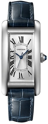 Cartier Tank Americaine Medium Stainless Steel & Blue Alligator-Strap Watch