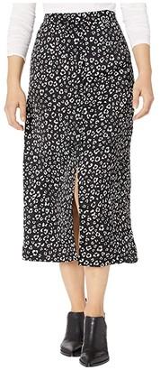 BB Dakota Rare Breed Leopard Printed Reverse Crepon Button Front Midi Skirt (Black) Women's Skirt