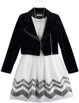 Knitworks Girls 7-16 Velvet Moto Jacket & Chevron Dress Set with Necklace