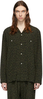 Needles Green and Black Leopard Shirt