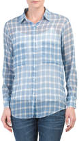 Juniors Sirena Gauze Plaid Shirt