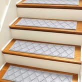 Bungalow Flooring Aqua Shield Gray Argyle Stair Tread