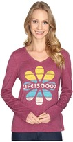 Life is Good Flower Stripes Long Sleeve Cool Vee Women's Long Sleeve Pullover