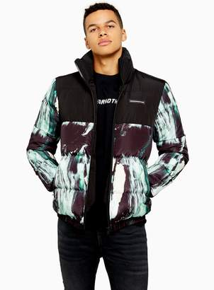 TopmanTopman GOOD FOR NOTHING Black And Green Abstract Print Funnel Neck Jacket
